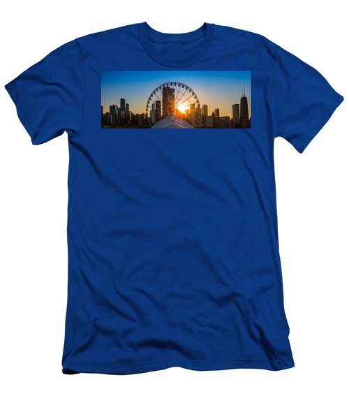 Navy Pier Sundown Chicago Men's T-Shirt (Slim Fit) by Steve Gadomski