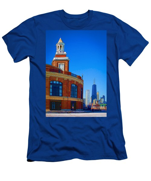 Navy Pier With Texture Men's T-Shirt (Slim Fit) by Kathleen Scanlan