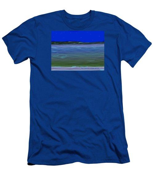 Men's T-Shirt (Slim Fit) featuring the digital art No Moon Night Sea by Dr Loifer Vladimir
