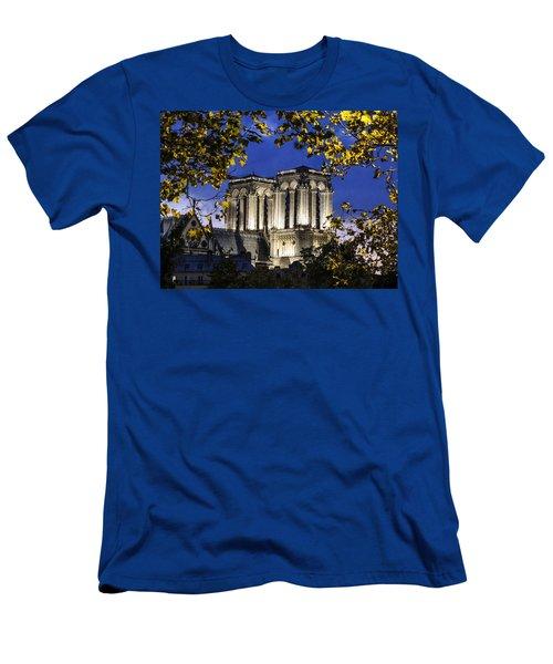 Notre Dame At Night Paris Men's T-Shirt (Athletic Fit)