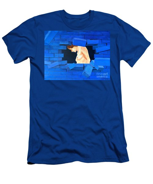 Nude Lady Through Exploding Wall Men's T-Shirt (Athletic Fit)