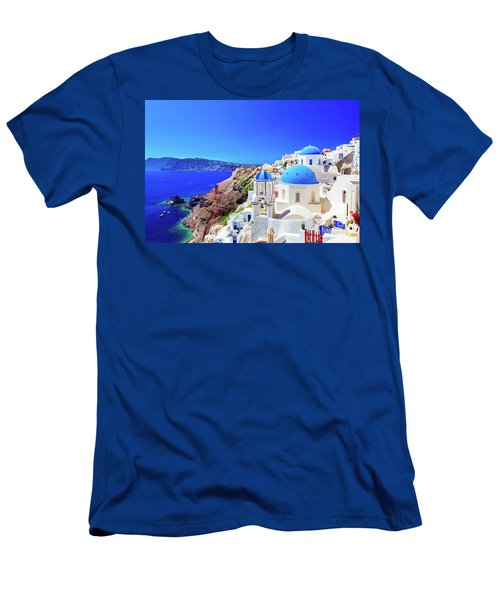 Oia Town On Santorini Island, Greece. Caldera On Aegean Sea. Men's T-Shirt (Athletic Fit)