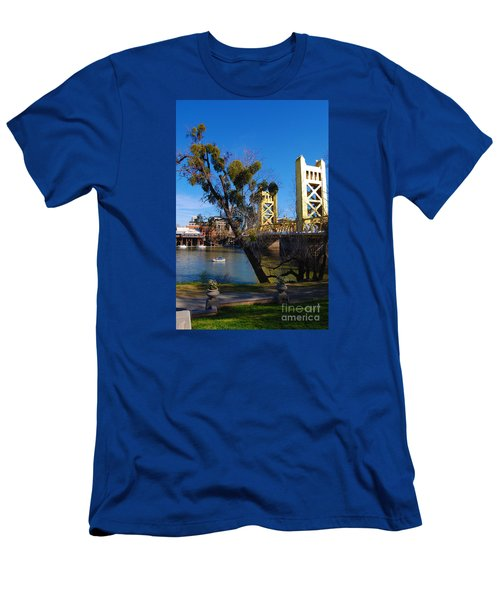 Men's T-Shirt (Slim Fit) featuring the photograph Old Sacramento Tower Bridge by Debra Thompson