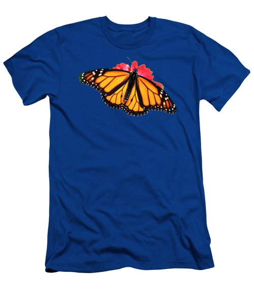 Men's T-Shirt (Athletic Fit) featuring the photograph Orange Drift Monarch Butterfly by Christina Rollo