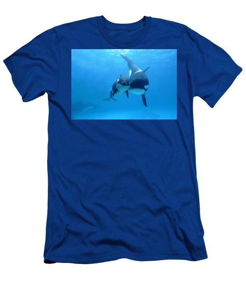 Men's T-Shirt (Athletic Fit) featuring the photograph Orca Orcinus Orca Mother And Newborn by Hiroya Minakuchi