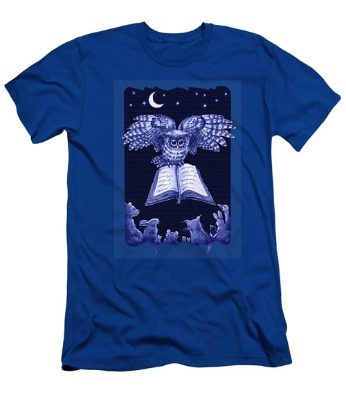 Owl And Friends Indigo Blue Men's T-Shirt (Slim Fit) by Retta Stephenson