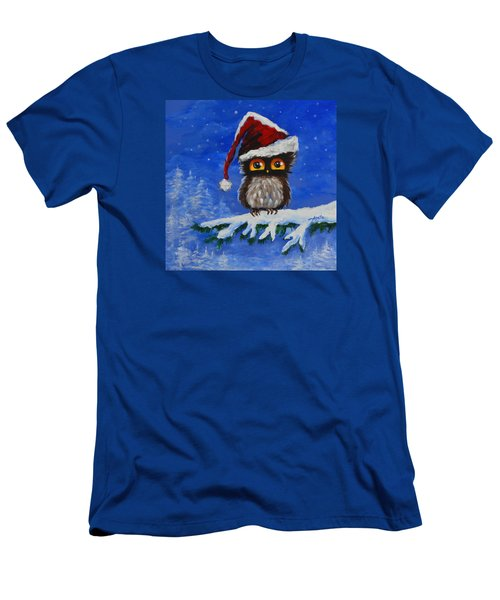 Men's T-Shirt (Slim Fit) featuring the painting Owl Be Home For Christmas by Agata Lindquist