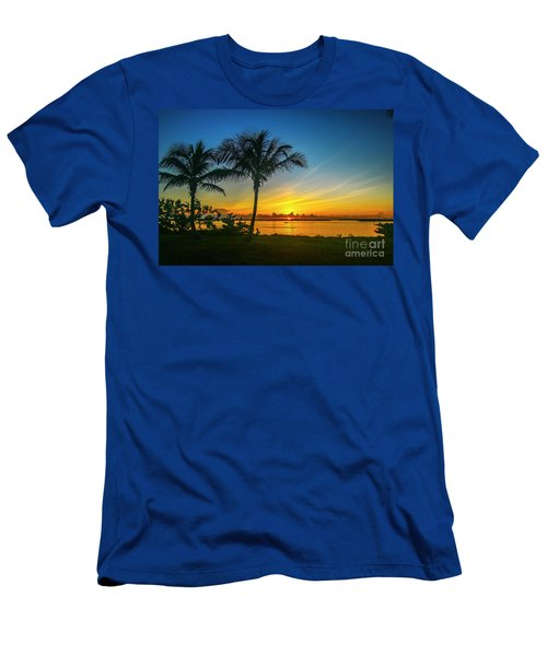 Palm Tree And Boat Sunrise Men's T-Shirt (Athletic Fit)