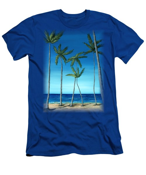 Men's T-Shirt (Slim Fit) featuring the painting Palm Trees On Blue by Anastasiya Malakhova