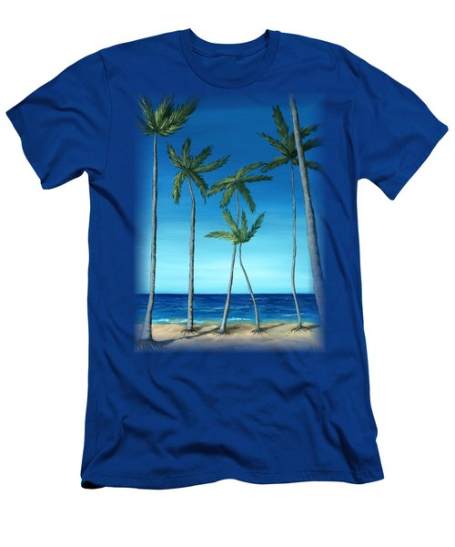 Palm Trees On Blue Men's T-Shirt (Athletic Fit)