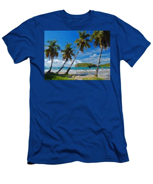 Palm Trees On Sandy Beach Men's T-Shirt (Slim Fit) by Anthony Fishburne