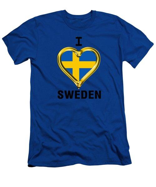 Parchment Background I Heart Sweden Men's T-Shirt (Athletic Fit)