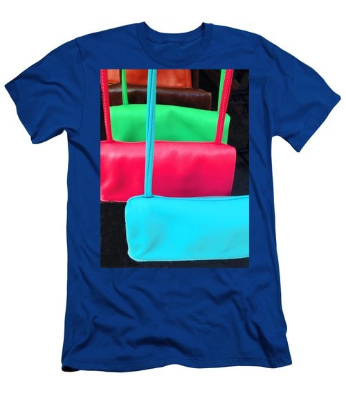 Men's T-Shirt (Athletic Fit) featuring the photograph Pastel Pocketbooks - Nyc Street Fair by Rick Locke