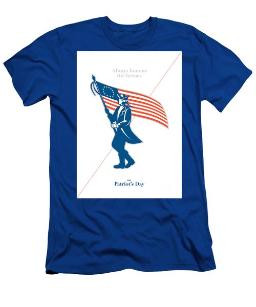 Patriots Day Greeting Card American Patriot Soldier Flag Marching Men's T-Shirt (Athletic Fit)