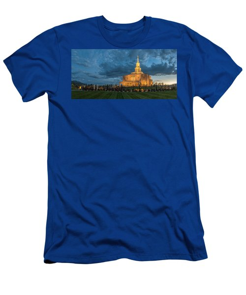 Men's T-Shirt (Athletic Fit) featuring the photograph Payson Temple Panorama by Dustin  LeFevre