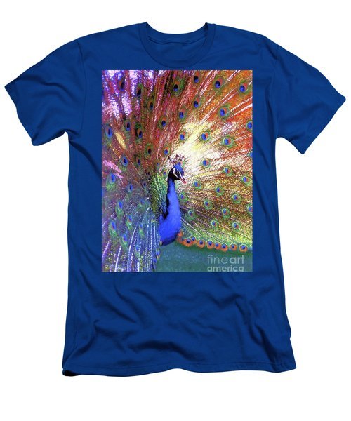 Men's T-Shirt (Slim Fit) featuring the painting Peacock Wonder, Colorful Art by Jane Small