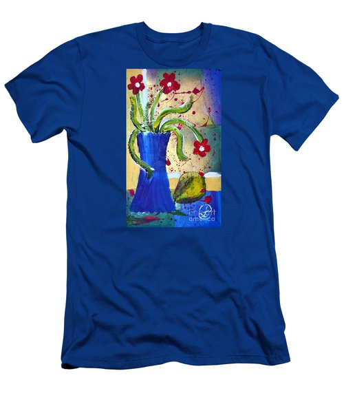 Pear And Red Flowers Men's T-Shirt (Slim Fit) by Lynda Cookson