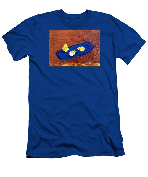 Men's T-Shirt (Slim Fit) featuring the painting Pears On A Blue Platter by Brenda Pressnall