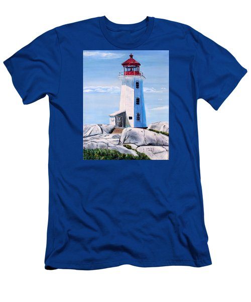 Men's T-Shirt (Slim Fit) featuring the painting Peggy's Cove Lighthouse by Marilyn  McNish