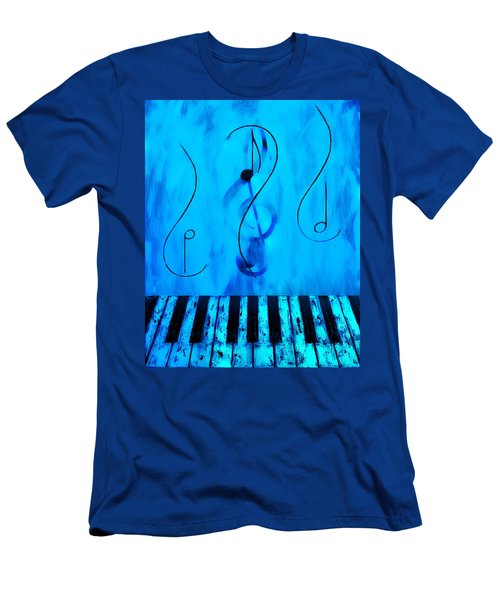 Piano Play Blue Men's T-Shirt (Athletic Fit)