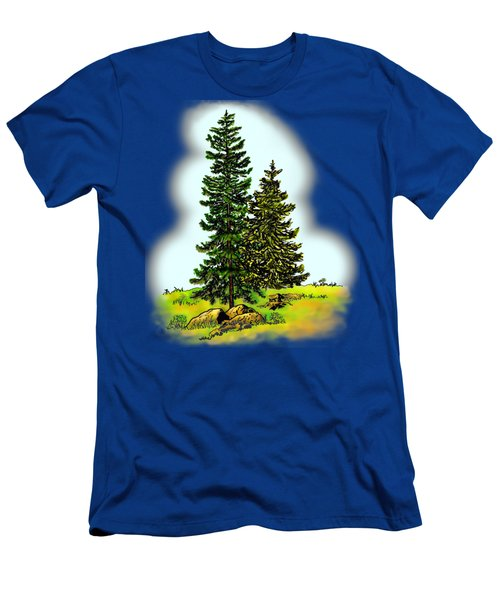 Pine Tree Nature Watercolor Ink Image 2         Men's T-Shirt (Athletic Fit)