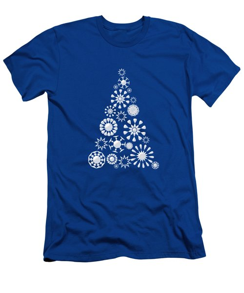 Pine Tree Snowflakes - Dark Blue Men's T-Shirt (Athletic Fit)