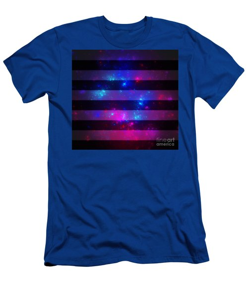 Pink And Blue Striped Galaxy Men's T-Shirt (Athletic Fit)