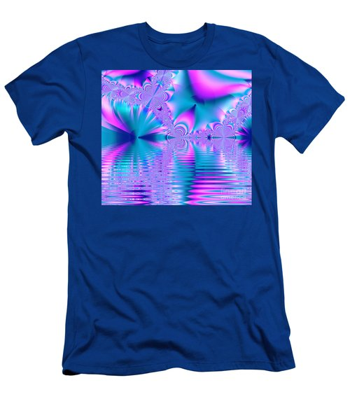 Pink, Blue And Turquoise Fractal Lake Men's T-Shirt (Athletic Fit)