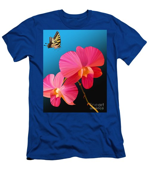 Men's T-Shirt (Slim Fit) featuring the painting Pink Lux Butterfly by Rand Herron