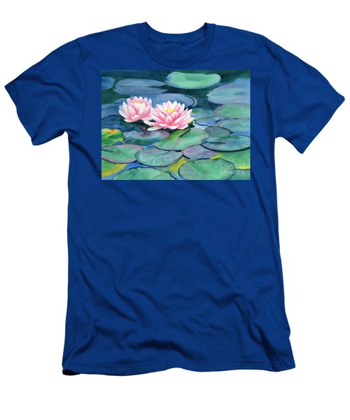 Pink Water Lilies With Colorful Pads Men's T-Shirt (Athletic Fit)