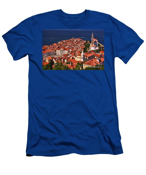 Piran From The Castle Wall Men's T-Shirt (Slim Fit) by Graham Hawcroft pixsellpix