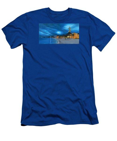 Playa De Noche Men's T-Shirt (Slim Fit) by Angel Ortiz