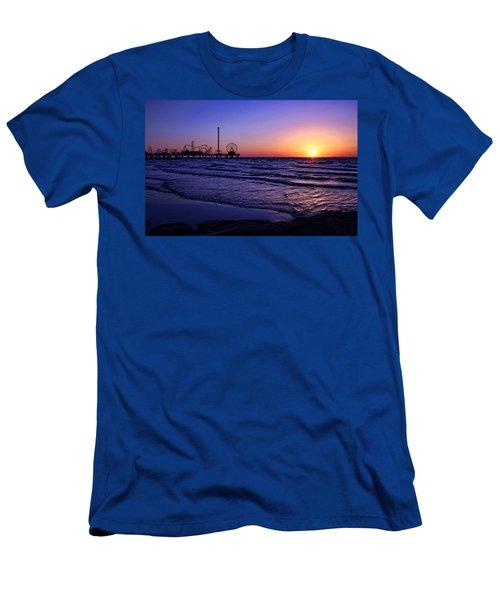 Pleasure Pier Sunrise Men's T-Shirt (Slim Fit) by Judy Vincent