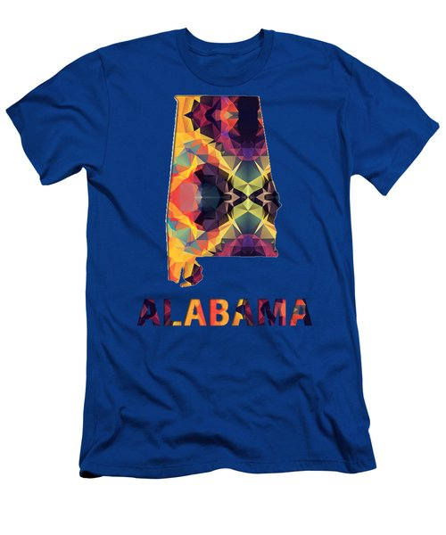 Polygon Mosaic Parchment Map Alabama Men's T-Shirt (Athletic Fit)