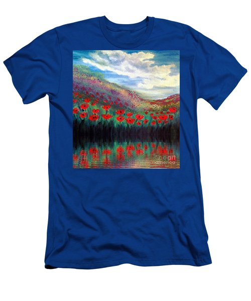 Men's T-Shirt (Slim Fit) featuring the painting Poppy Wonderland by Holly Martinson