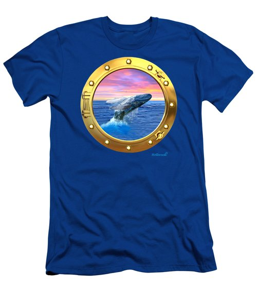 Porthole View Of Breaching Whale Men's T-Shirt (Slim Fit) by Glenn Holbrook