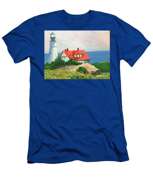 Portland Headlight With Brown Eyed Susans Men's T-Shirt (Athletic Fit)