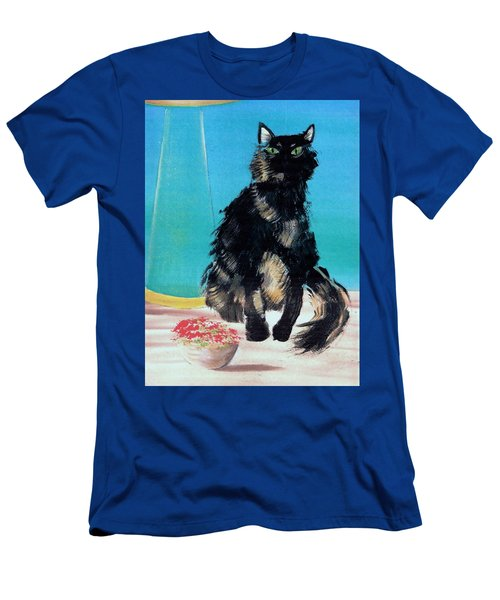 Men's T-Shirt (Slim Fit) featuring the painting Portrait Of Muffin by Denise Fulmer