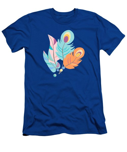 Pretty Boho Peacock Feather Pattern Men's T-Shirt (Athletic Fit)