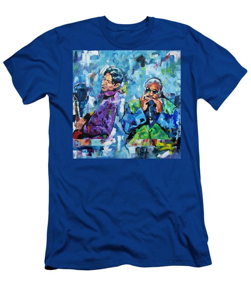 Men's T-Shirt (Slim Fit) featuring the painting Prince And Stevie by Richard Day