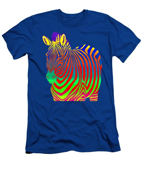 Psychedelic Rainbow Zebra Men's T-Shirt (Athletic Fit)