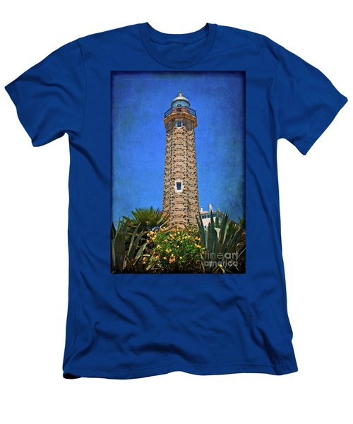 Men's T-Shirt (Slim Fit) featuring the photograph Punto Doncela Lighthouse by Mary Machare