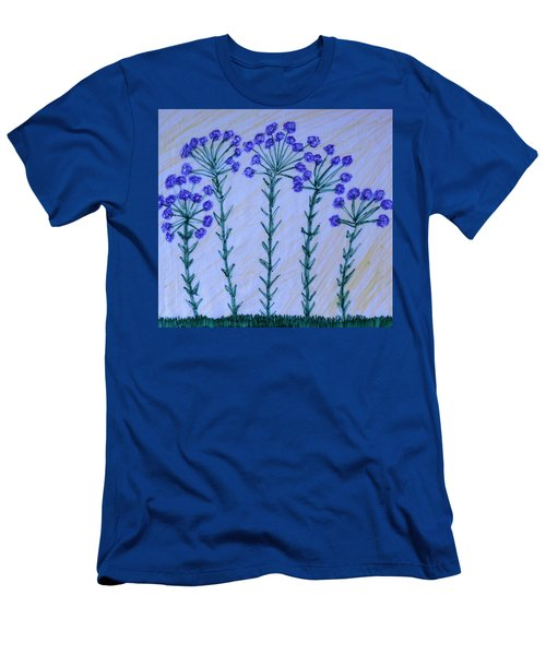 Purple Flowers On Long Stems Men's T-Shirt (Slim Fit)
