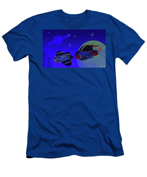 Race Thru Space Men's T-Shirt (Slim Fit) by Ken Morris