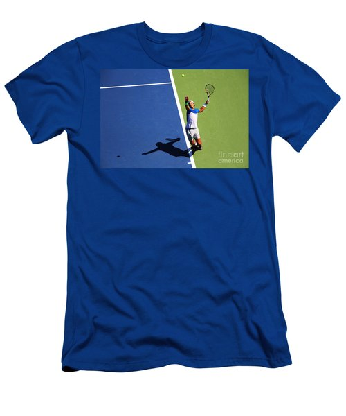 Rafeal Nadal Tennis Serve Men's T-Shirt (Slim Fit) by Nishanth Gopinathan