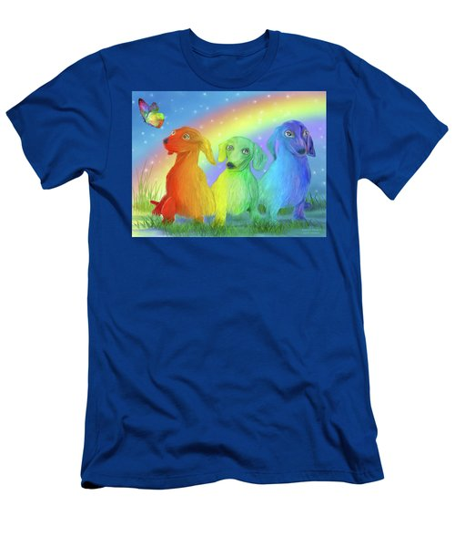 Men's T-Shirt (Athletic Fit) featuring the mixed media Rainbow Doxies 2 by Carol Cavalaris