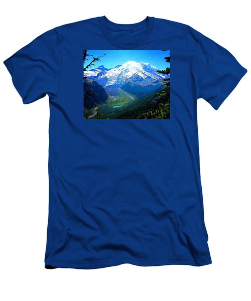 Ranier And Little Tahoma Men's T-Shirt (Slim Fit) by Timothy Bulone