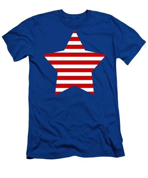 Red And White Star On A Field Of Blue Men's T-Shirt (Athletic Fit)