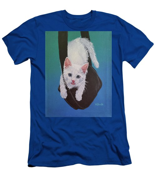 Men's T-Shirt (Slim Fit) featuring the painting Rembrandt Justa Swingin by Wendy Shoults
