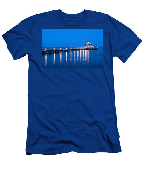 Roanoke Marshes Lighthouse Revisited Men's T-Shirt (Slim Fit) by Marion Johnson
